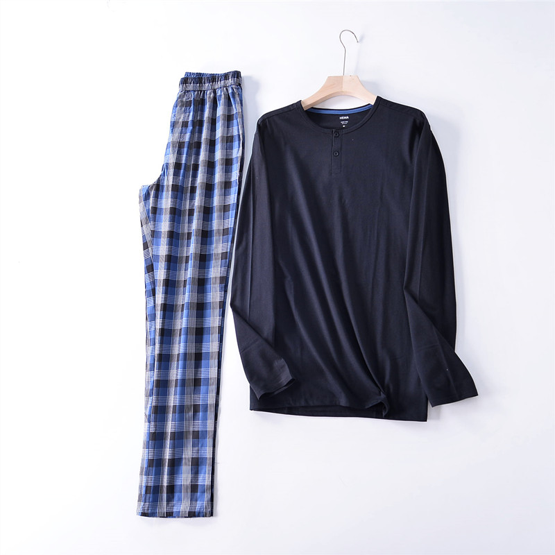 Pajamas For Men Spring And Autumn Long Sleeve Cotton Pullover