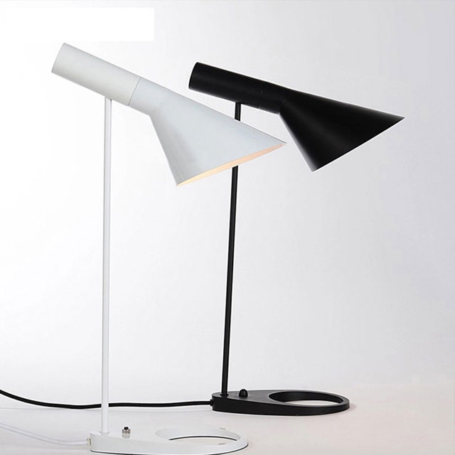 Modern stylish led desk lamp light fixture reading table lamp white black simple bedroom bedside