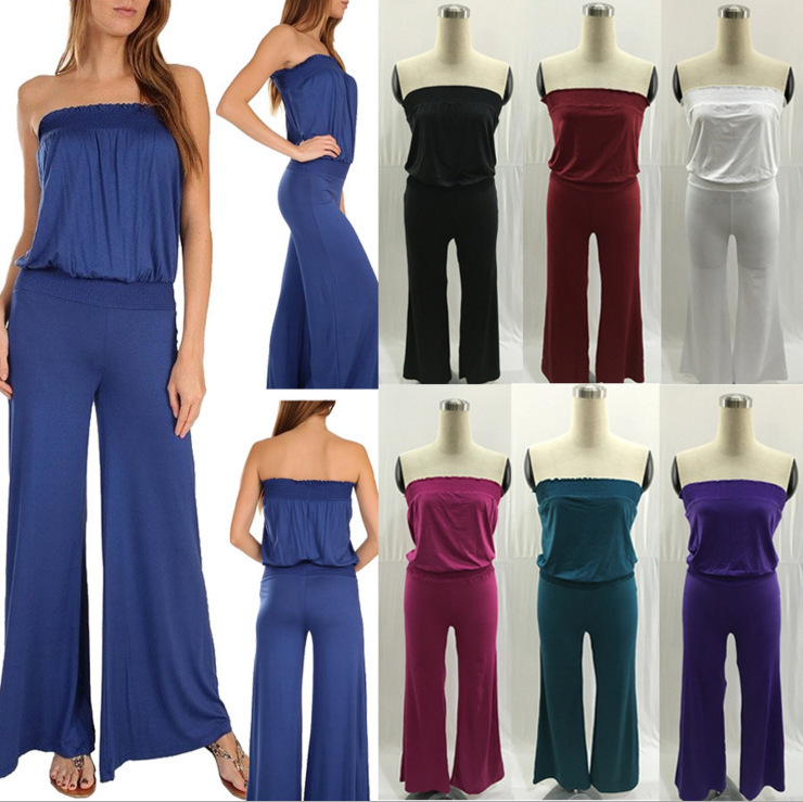 2017 Summer new sexy off the shoulder Backless Jumpsuit Sleeveless Women Romper Fashion Lady Playsuit Overalls Beach Jumpsuits
