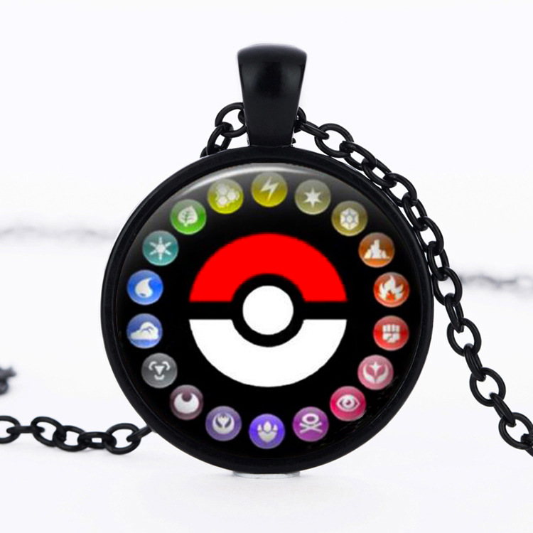 12pcs/lot Pocket Monster Hot Glass Dome Cabochon Game Pokemon Go Ball Pendant Anime Charm Necklace Unisex Chain Ash Ketchum