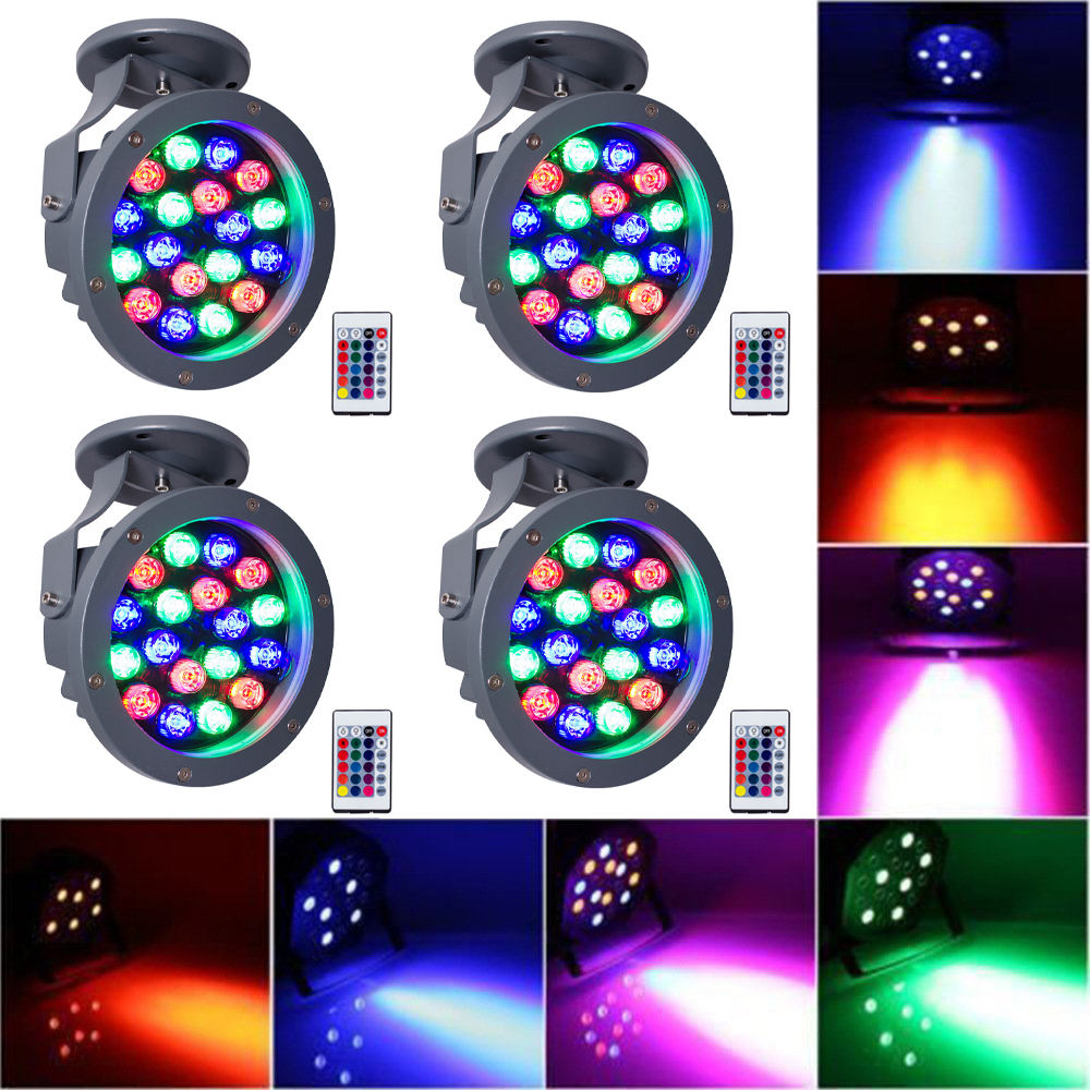T-SUN 4 PACK 20W Dj Laser Disco Ball Stage Light 12 Colors 18 LED Rgb Wash Effect Portable Stage Par Light Indoor Disco Lamp