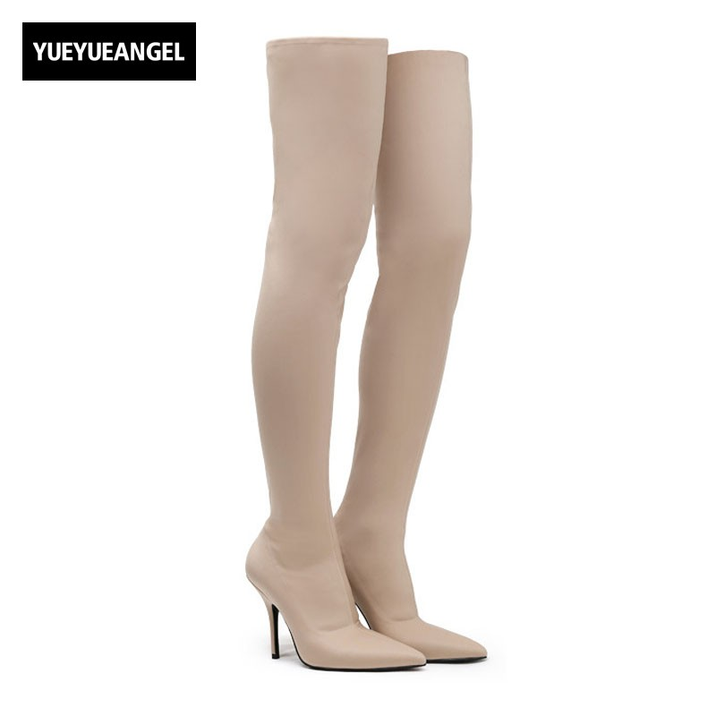 New Fashion Women Sexy Slip On Stretch Over The Knee Boots Pointed Toe Thin High Heels Night Club Dancing Ladies Shoes Slim Fit