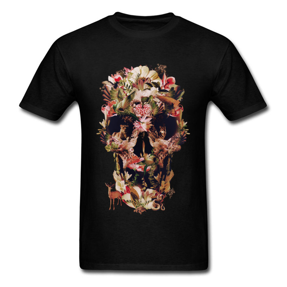 Jungle Skull Normal Short Sleeve Tops Tees Father Day O Neck Pure Cotton Men T Shirt Normal Sweatshirts Funky Wholesale