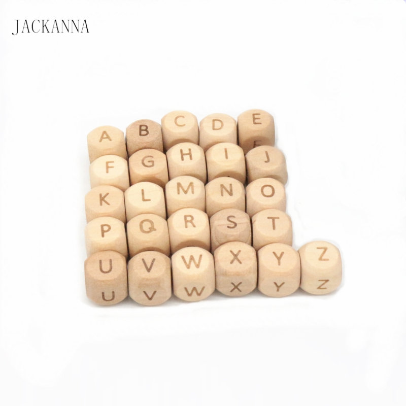 500PCS 12mm Alphabet Letter Beads Engrave Beech Wood Teether Teething Jewelry DIY Crafts Chew Wooden Teether