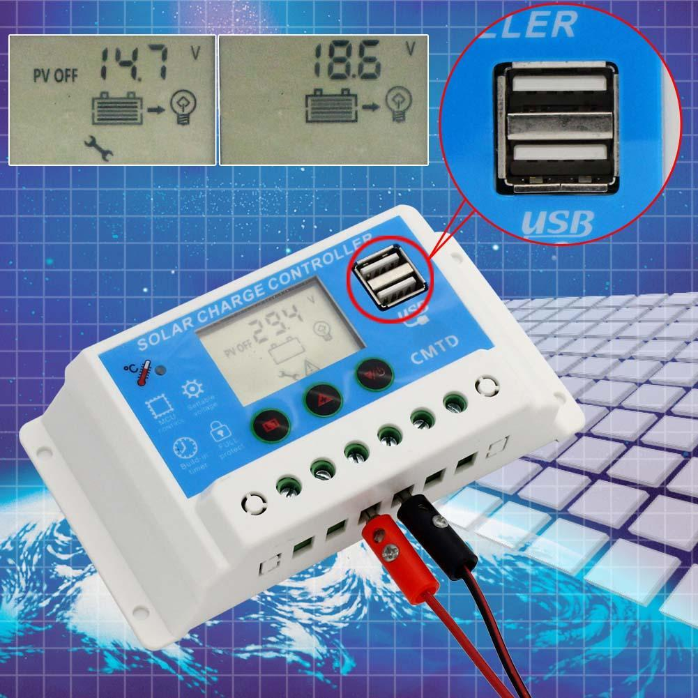 Pwm Solar Panel Charge Controller 12v 24v Auto 10a Lcd With Dual Usb 5v Chargers Regulator In Controllers From Home Improvement On