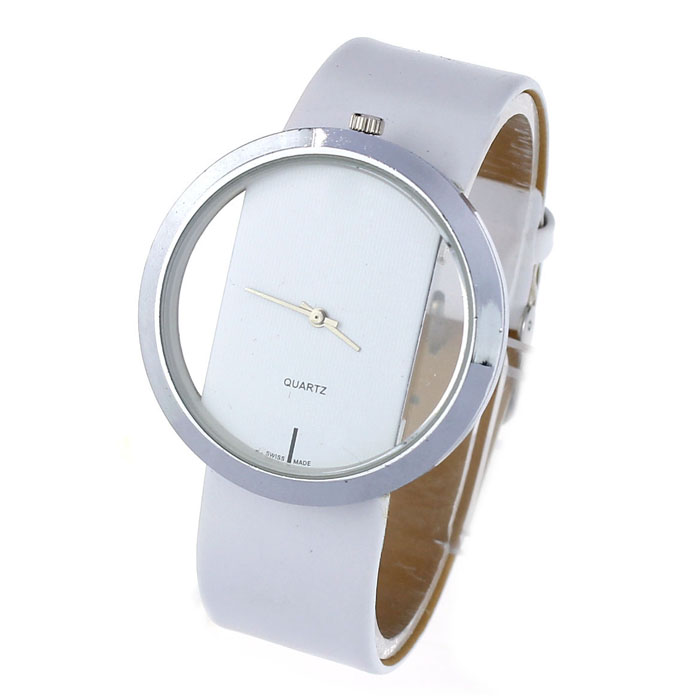 Big Dial Transparent Hollow Ladies Watches Bracelets Simple Faux Leather Watches for Women Analog Quartz Watch women wristwatch