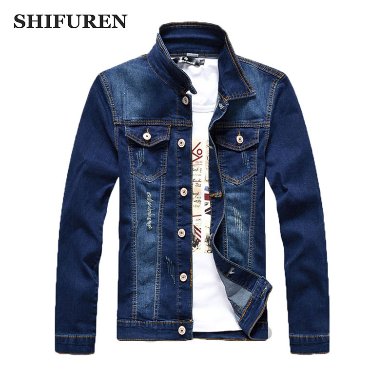 SHIFUREN New 2017 Ripped Denim Jacket Men Fashion Printed Blue Jeans Jacket Long Sleeve Single Breasted Closure Outerwear