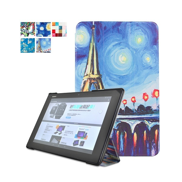 Роскошный Супер Тонкий Кожаный Чехол Чехол Для Sony Xperia Tablet Z2 + PC Стенд Магнитные Смарт Обложка + Протектор Экрана + Стилус ручка