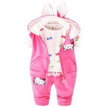 2016 Winter Velvet Toddler Girl Clothing Sets 3pcs Hooded Coats Kids Clothes Baby Girls Hello Kitty