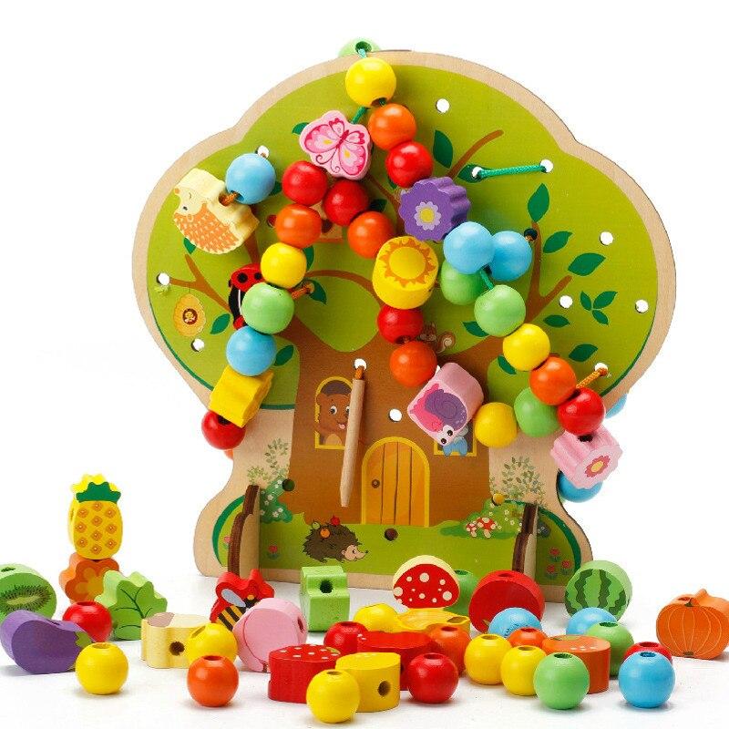 AIYOU Puzzle Montessori jouets éducatifs en bois perle d'arbre jouets en bois pour enfants bébé enfant et enfants pour le plaisir pour la livraison directe