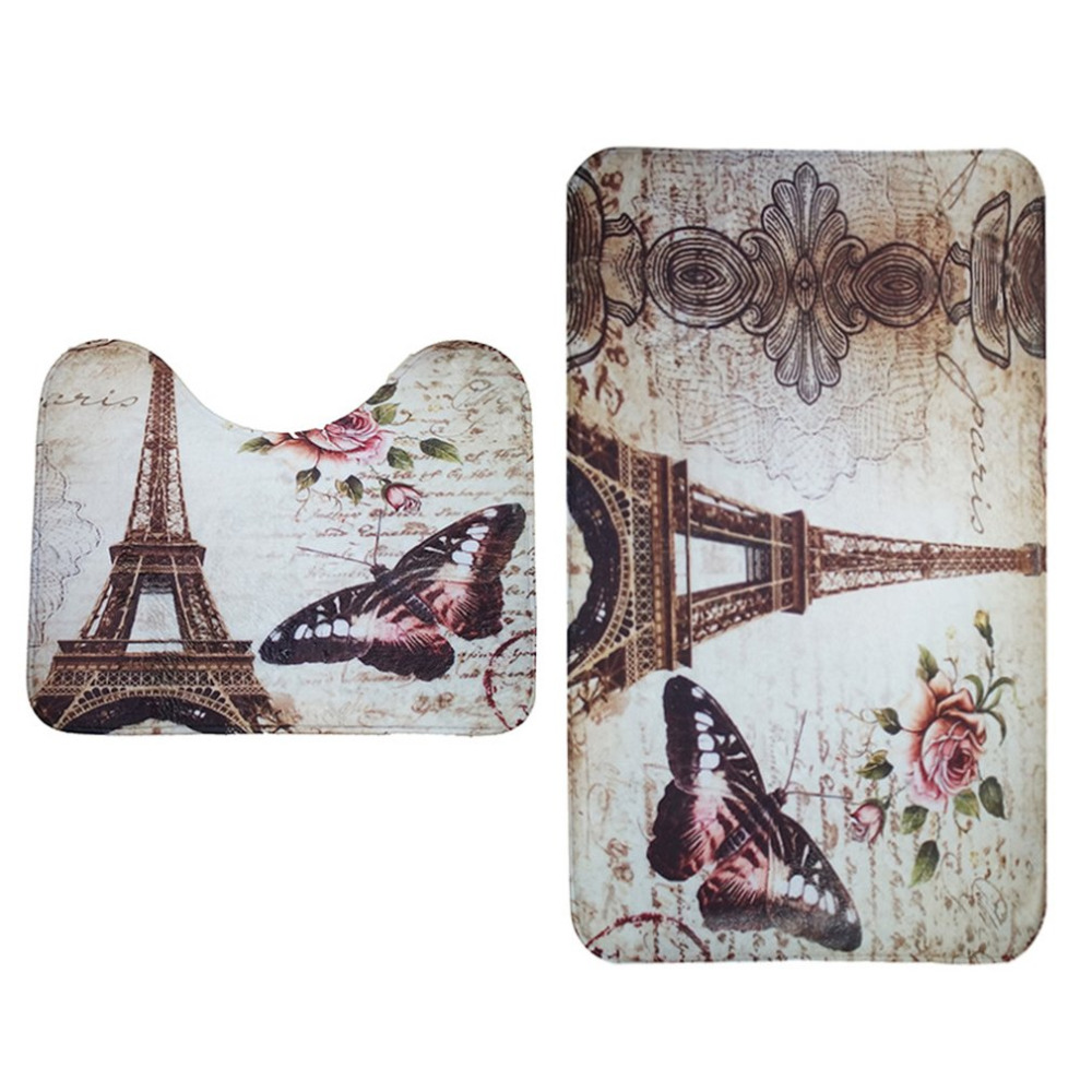 2PcsSet Paris Tower Butterfly Non-Slip Bathroom Toilet Pedestal Rug + Bath Mat Absorbent Pad Decorative Supplies