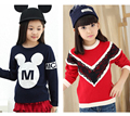 Girl Pullover Mouse knitted Lace sweaters Kids Red sweater for girls children's warm clothes pull enfant fille kinder kleidung