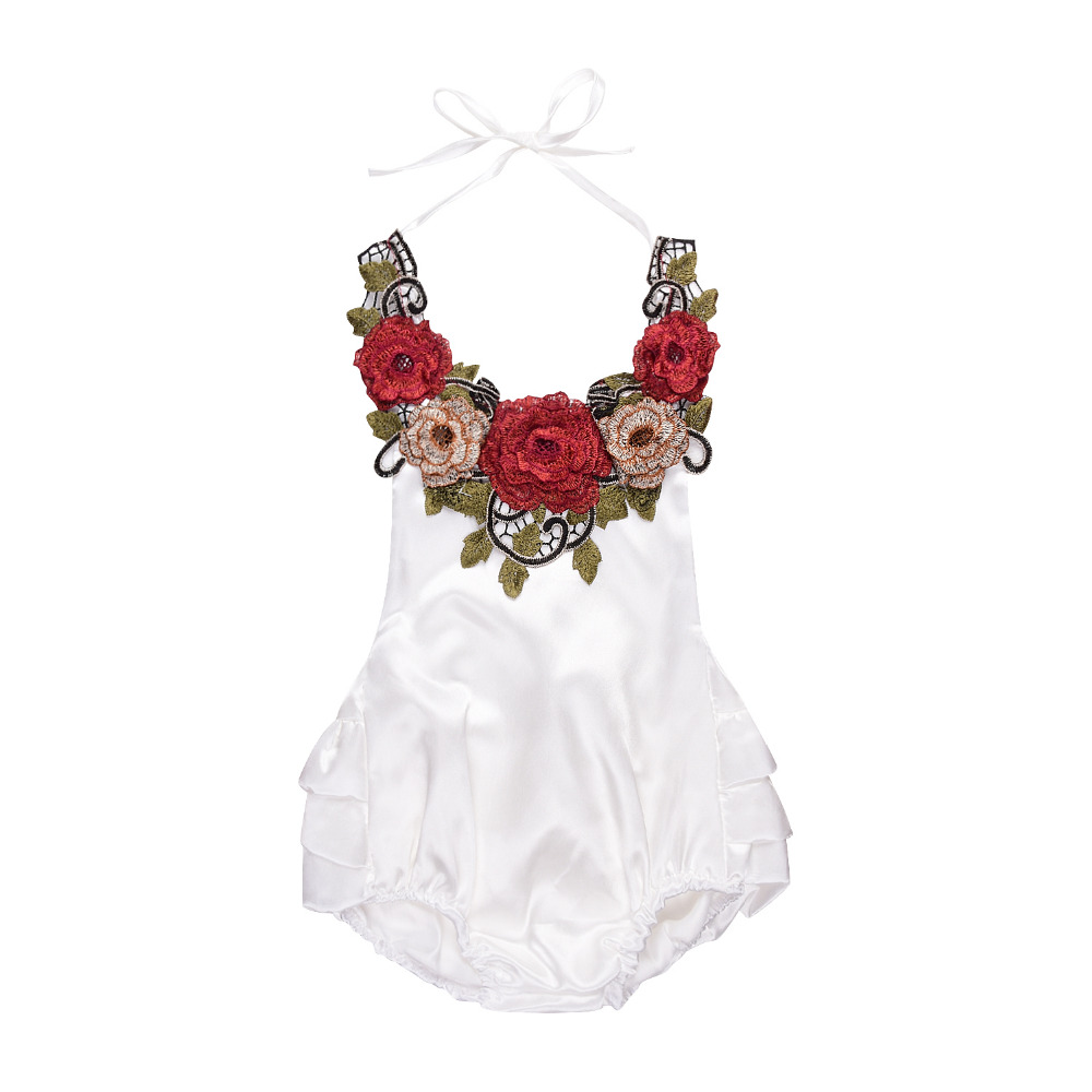 Summer Fashion Newborn Toddler Baby Girls 3D Flower Applique Halter Floral Romper Backless Jumpsuit Ruffle Sunsuit ship from USA