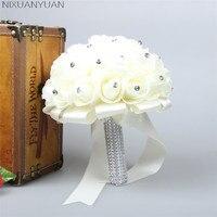 2018 Piękny Biały Ivory Bridal Drużki Kwiat Bukiet Ślubny Bukiet Sztuczny Kwiat Róży Kryształowe Bukiety Ślubne