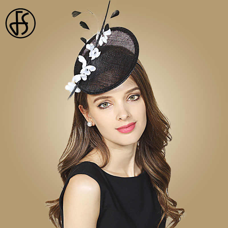 9d25fed310750 FS Black Sinamay Fascinator For Weddding Ladies Hats Church Linen Fedora  Women Elegant Hat Pillbox Vintage
