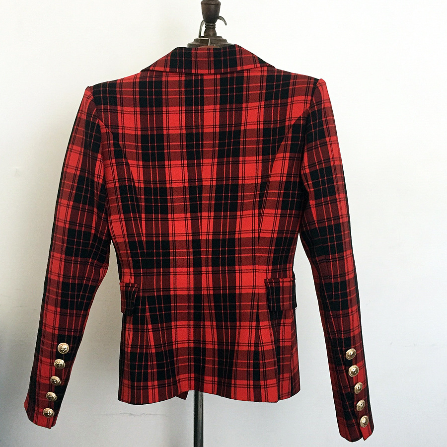 2019 Spring New Jacket Women Metal Lion Buttons Double Breasted Plaid Blazer Feminino