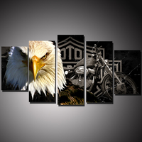 5 Panels HD Printed Motorcycle And Eagle Animal Painting Canvas Print Room Decor Print Poster Picture