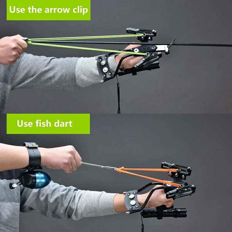Shooting Arrow Elastico Pesca Caccia Slingshot con Freccette Da Pesca Giochi All'aperto Catapulta Caccia con L'arco Balestra Bullone Fionda