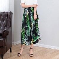 Natural Silk skirt Women 2019 summer Real Silk Boho Mid Calf Length A line Empire print skirt thin elegant ruffles skirt woman