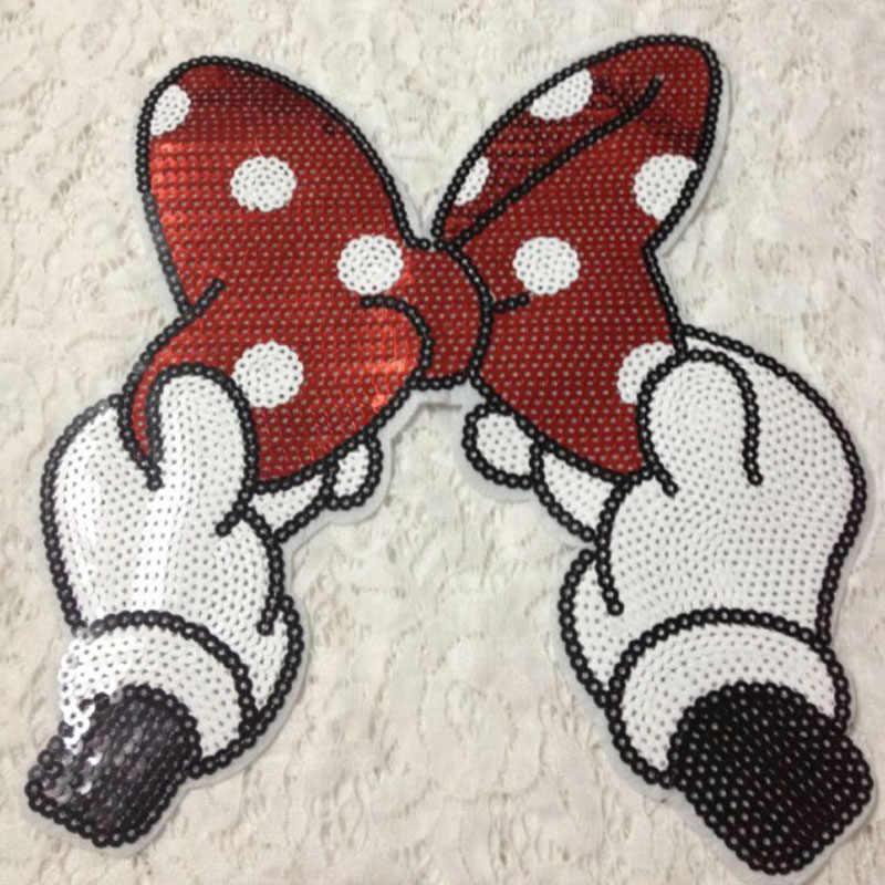5 piezas Bowknot Mickey parches parche bordado ropa Tottenham ropa vestido apliques parches para la ropa
