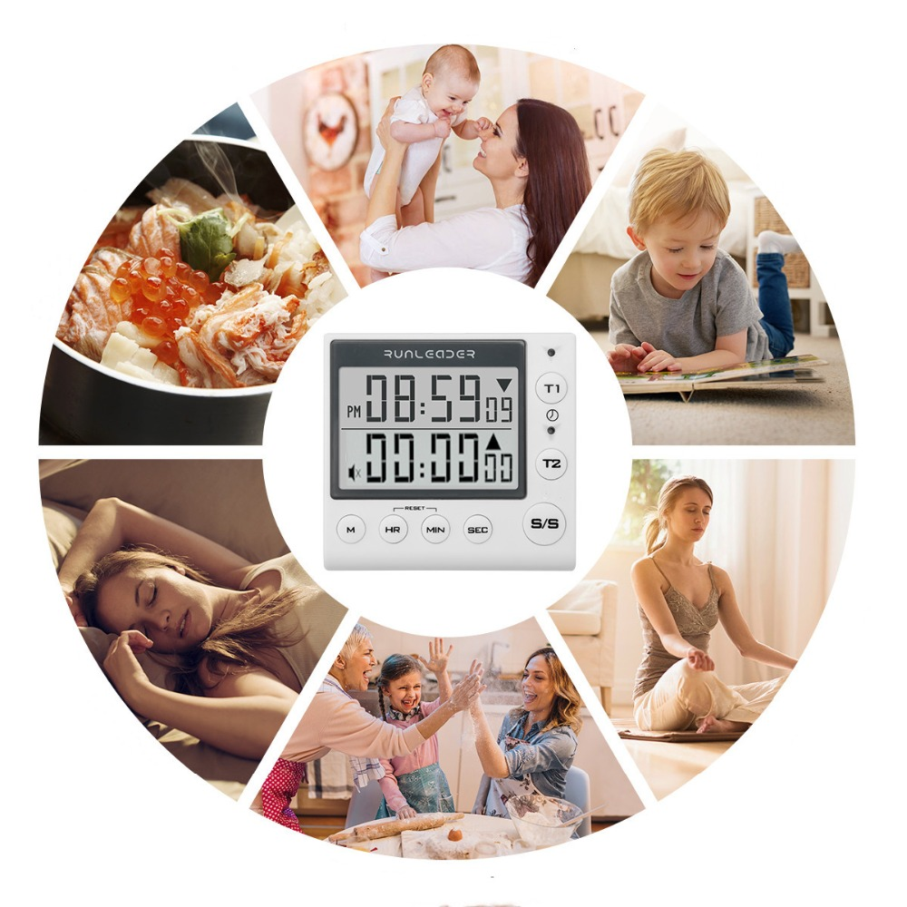 Digital Kitchen Timer Cooking Timers large LED display loud alarm memory stopwatch magnetic back white black in Kitchen Timers from Home Garden
