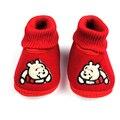 Inverno de Super Manter Quente Infantil Criança Primeira Walkers Shoes Botas de Tricô Bonito Urso Dos Desenhos Animados Do Bebê Recém-nascido Sapatos -- ZYA009 PT30