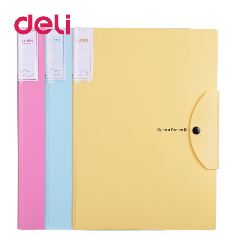 Deli 1pcs Small Fresh A3 Folder Storage Clip Color Test Papers Wallet Display Book Multilayer File Drawings Folder Blueprint