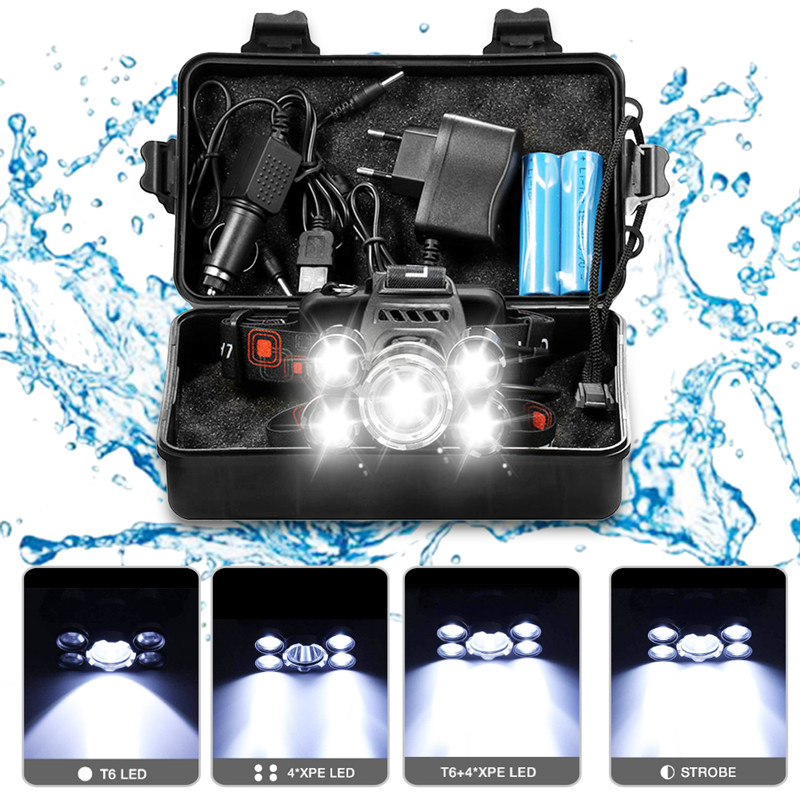 Headlight 20000 Lumen headlamp CREE XML 5*T6 LED Head Lamp Flashlight Torch Lanterna head light with 18650 battery AC/DC charger