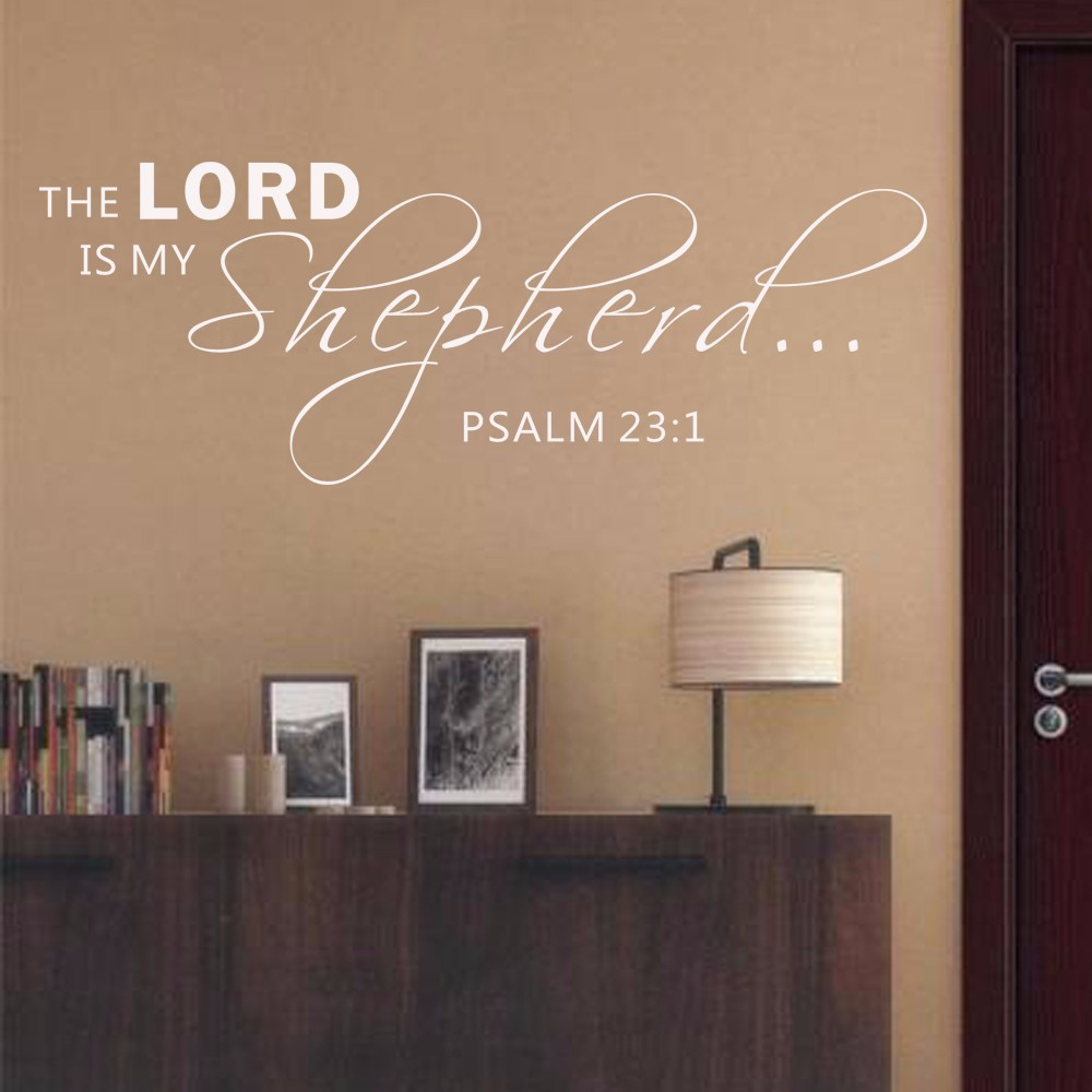 bible verse psalm 23 1 the lord is my shepperd scripture wall decal spiritual vinyl decal. Black Bedroom Furniture Sets. Home Design Ideas