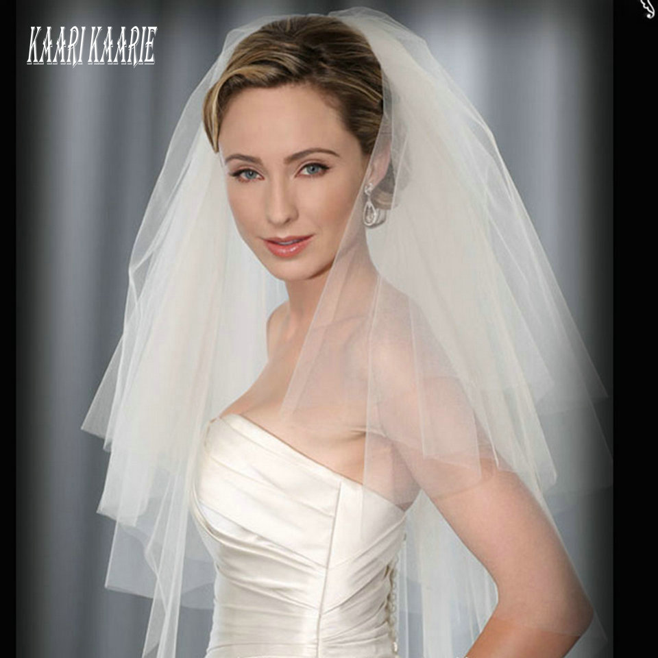 Elegant Women White Veil Short Bride Wedding Veils Two Layer With Comb 2020 Cheap Ivory Veil For Wedding Party Tulle Accessories