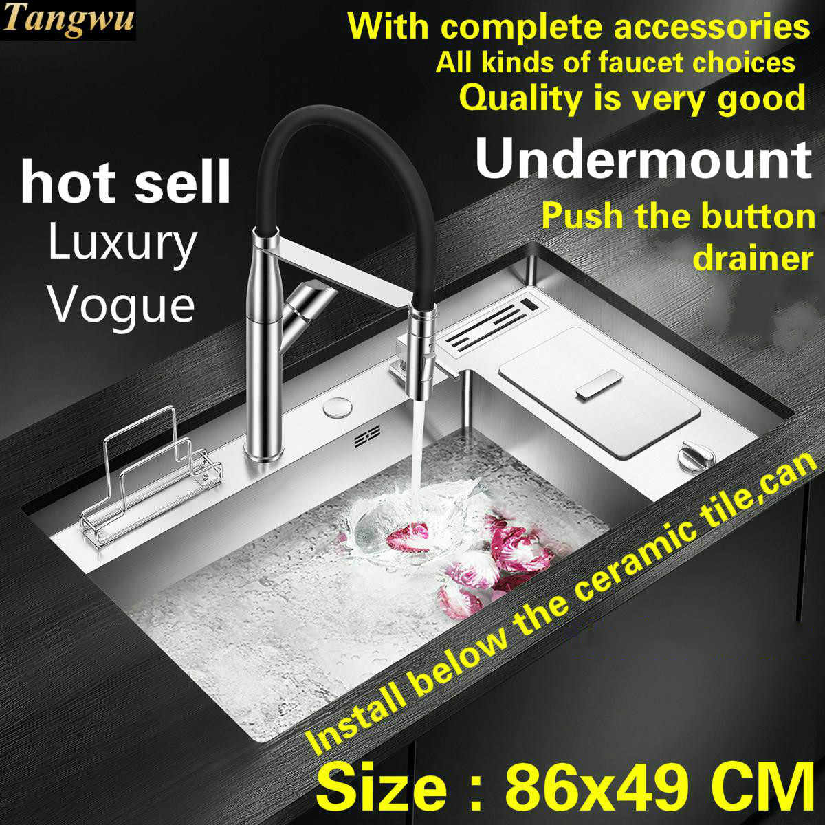 Free shipping Hot sell standard push the button - drainer luxury kitchen manual sink single trough big stainless steel  86x49 CM