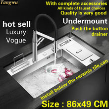 Free shipping Hot sell standard push the button - drainer luxury kitchen manual sink single trough big stainless steel 86x49 CM(China)