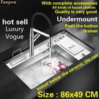 Livraison gratuite vente chaude standard appuyez sur le bouton-égouttoir cuisine de luxe manuel évier simple creux grand acier inoxydable 86x49 CM