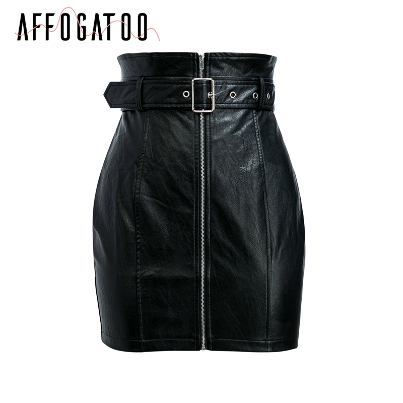 Affogatoo High waist pu leather skirts women Sash zipper pencil mini skirt 2018 Autumn streetwear winter