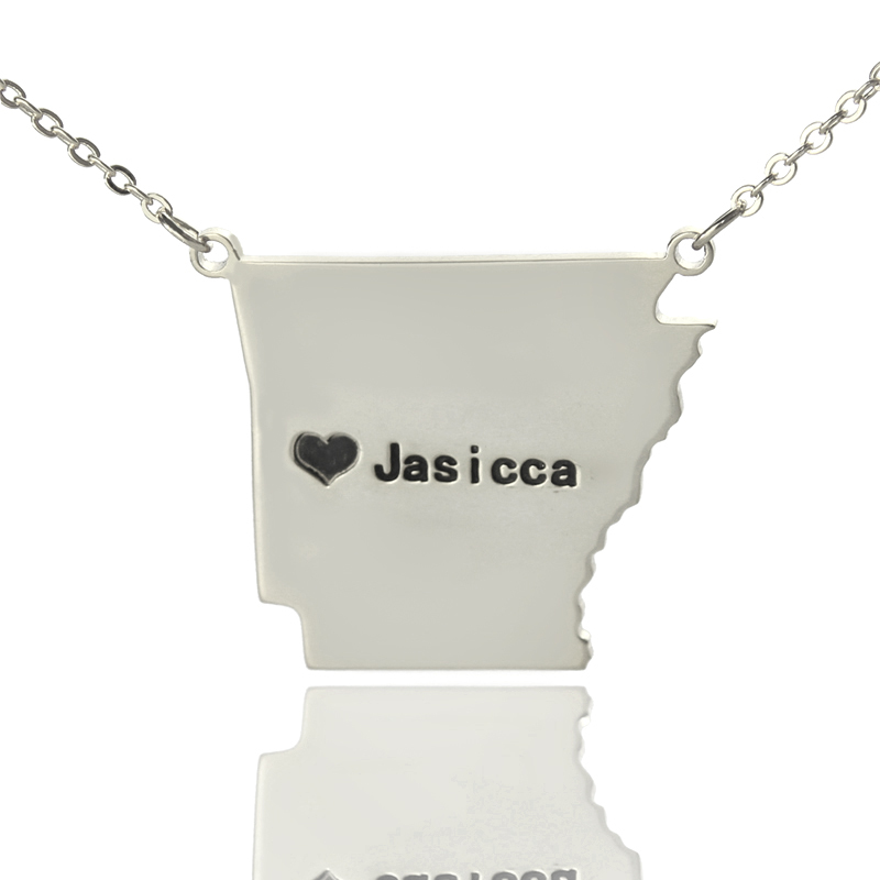 AILIN Sterling Silver USA State Necklace Personalized AR State Shaped Heart Necklace Custom Engraved Black Name The Map Necklace