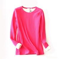 סגנון קצר חורף נשים חולצות T פסים חמים עבה קשמיר השפל חולצות באיכות גבוהה פלוס גודל 4XL דק תרמית תחתונים