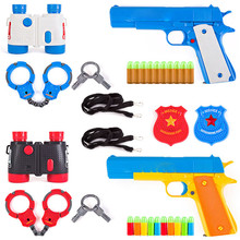 16pcs/set Children Soft gun Toy Gun Set Classic Colt m1911 Analog  hand handcuffs Policeman Kit Toys for children