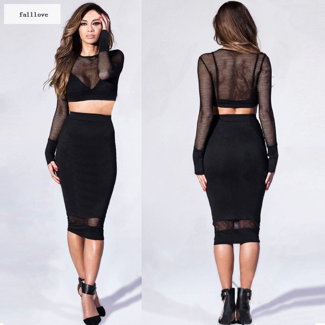 New Women Bodycon Mesh Short Top Sheer Sexy Black Dress Outfit 2