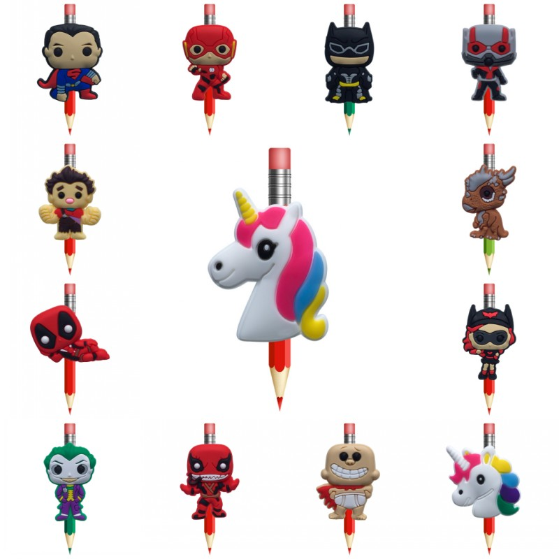 New 8pcs/lot Deadpool Joker Unicorns Justice League PVC Pencil Toppers Pen Grip Accessory Pencil Caps School Stationery Kid Gift