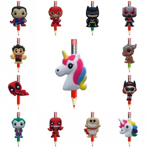 New 8pcs/lot Deadpool Joker Unicorns Justice League PVC Pencil Toppers Pen Grip Accessory Pencil Caps School Stationery Kid Gift(China)