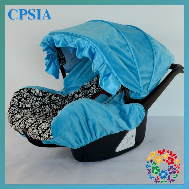 Turquoise Damask Infant Car Seat Cover Cute Lovely Newborn Baby Canopy Black White Boys