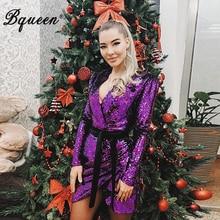 Bqueen 2019  Deep V Sequined Women Fashion Solid Full Sleeve Asymmetrical Split Mini New Dress