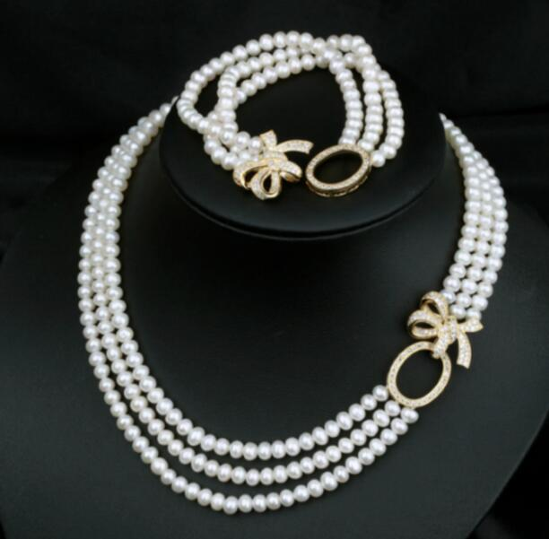 3ROWS 9-10 MM ROUND WHITE PEARL NECKLACE 18-20&BRACELET 8INCH3ROWS 9-10 MM ROUND WHITE PEARL NECKLACE 18-20&BRACELET 8INCH