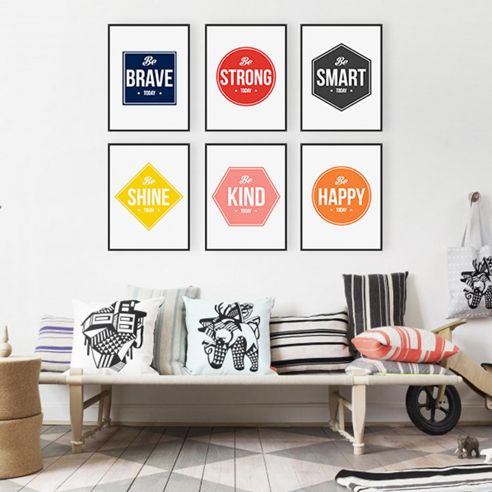Colorful Minimalist Motivational Typography Life Quotes A4 ... on Room Decor Posters id=31355