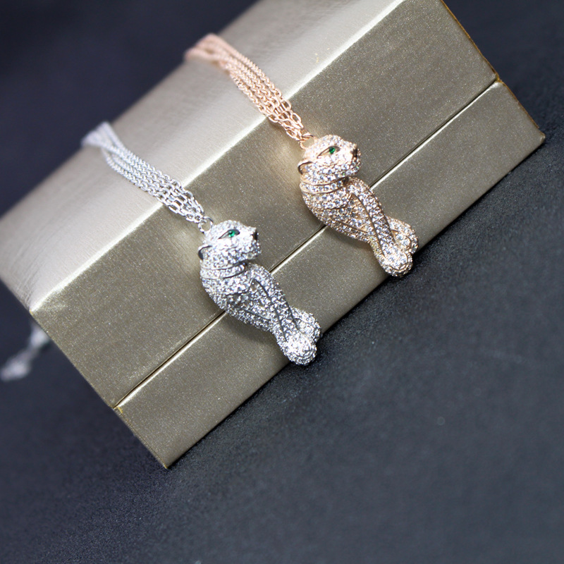 Hot brand jewelry copper design cz zircon panther necklace rose gold silver color double chain leopard penndat luxury brandHot brand jewelry copper design cz zircon panther necklace rose gold silver color double chain leopard penndat luxury brand
