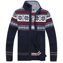 Christmas Gift Men Sweaters Casual Cardigan Computer Knitting Snowflake Stand Collar Man Sweatercoats S-XXXL Knitwear Coats