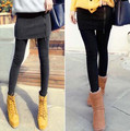 2016 Mulheres legging Cintura Meio Magro Estiramento Leggings Skinny com Zíper da Saia Calças Casuais Roupas de Ginástica para Mulheres