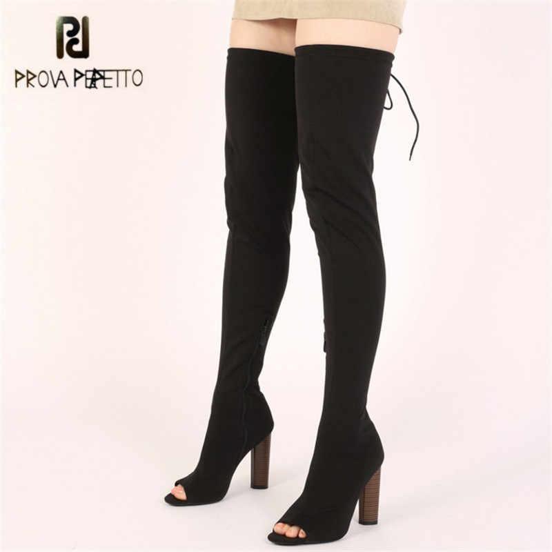Prova Perfetto Seksi Peep Toe Kadın Uyluk Yüksek Çizmeler 11 CM Tıknaz Yüksek Topuk Diz Çizmeler Slim Fit siyah Çorap Botas Mujer