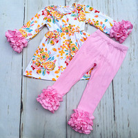 AICTON FASHION FALL Winter 2 Pieces Outfits Set 100 Cotton Girl Boutique Outfits Baby Floral Print