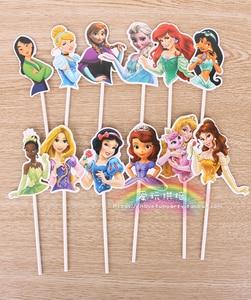 Image 2 - 12 adet/grup Süper Kahraman/Prenses Kek Topper Kız Doğum günü Partisi Kaynağı Kek Dekor Aksesuarları